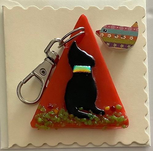 Glass Cat Keyring Card