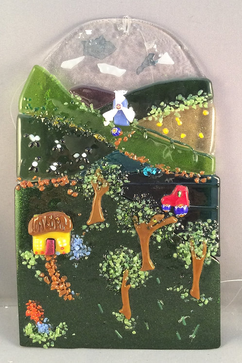 Fused Glass Country Scene Hanger