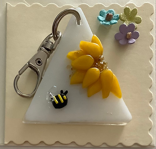 Glass Sunflower Keyring Card