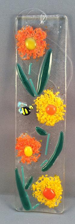 Fused Glass Fritt Flower Hanger