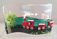 Fused Glass Red Train Tealight