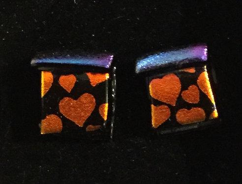 Dichroic Heart Earrings