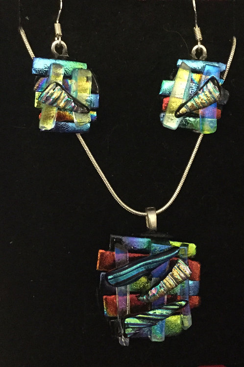 Dichroic Abstract Jewellery Set