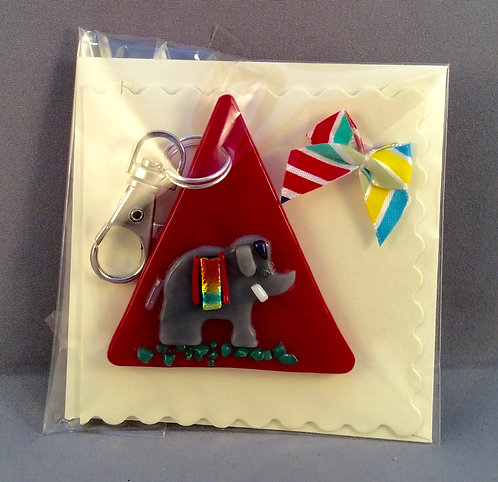 Fused Glass Elephant  Keyring Card