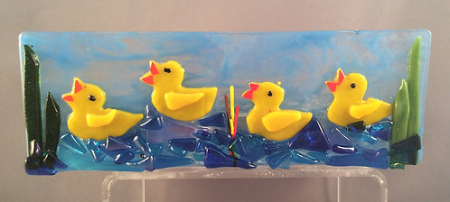Fused Glass Ducks On the River Tealight