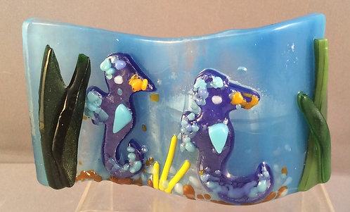 Fused Glass Seahorse Tealight