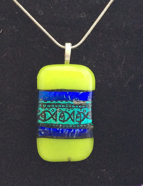 Fused Glass Fish Print Necklace