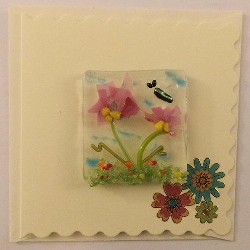 Glass Confetti Flower Magnet Card