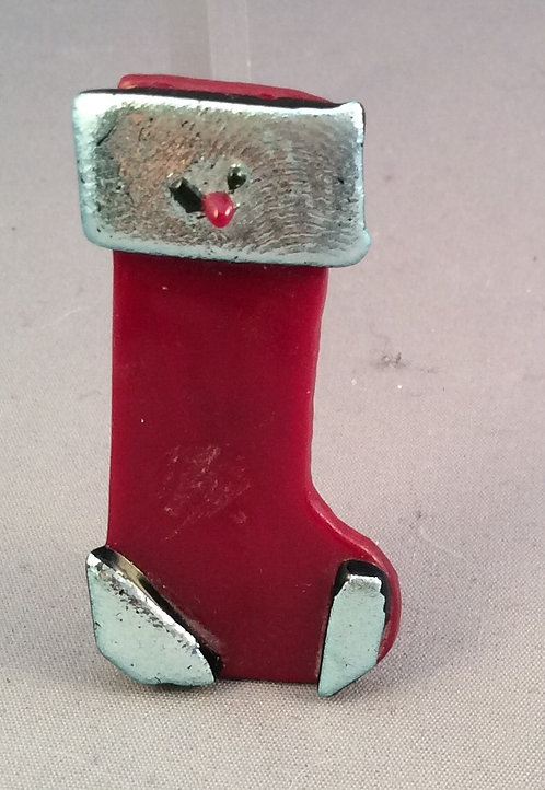 Fused Glass Christmas Stocking Brooch