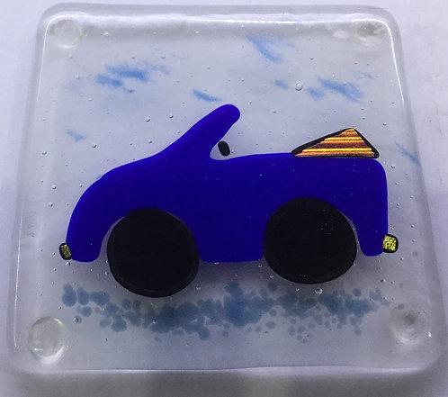 Fused Glass Blue Car Coaster