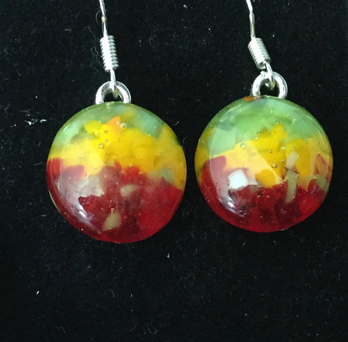 Glass Frit Round Earrings