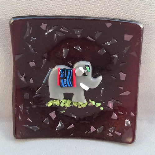 Fused Glass Elephant Dish