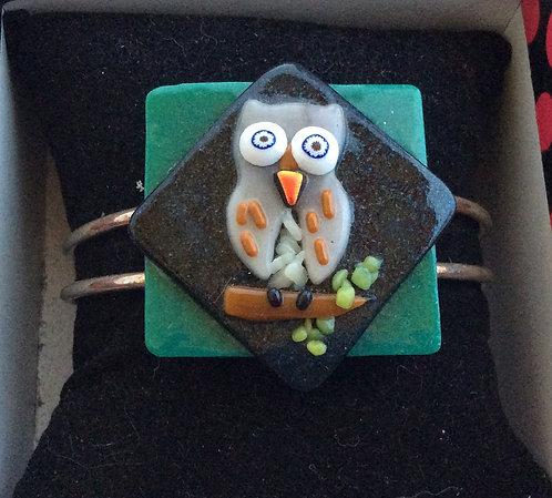 Fused Glass Owl  Bangle