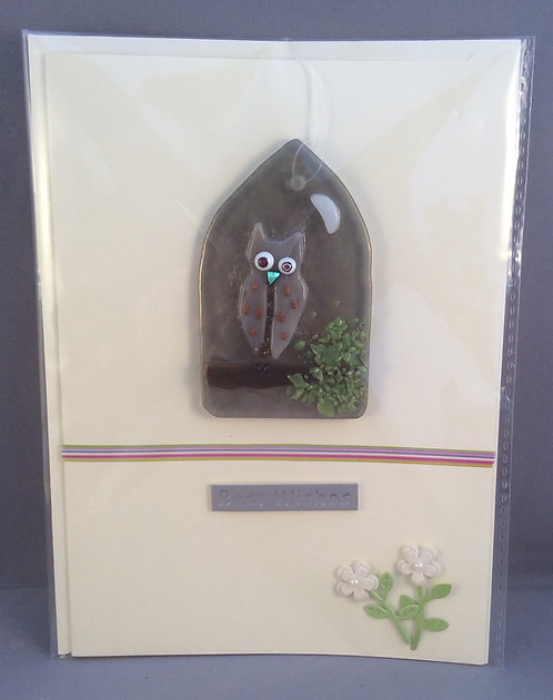 Fused Glass Owl Card