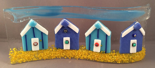Freestanding  Fused Glass Row of Blue Beachuts Wave