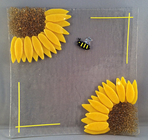 Fused Glass Square Sunflower Dish