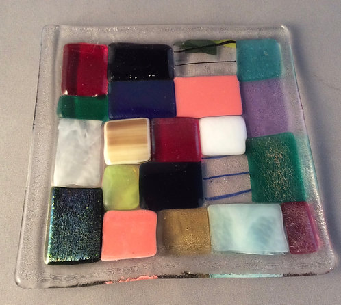 Fused Glass Large Square Patchwork Dish