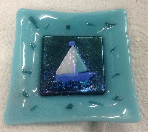 Fused Glass Boat Dish.