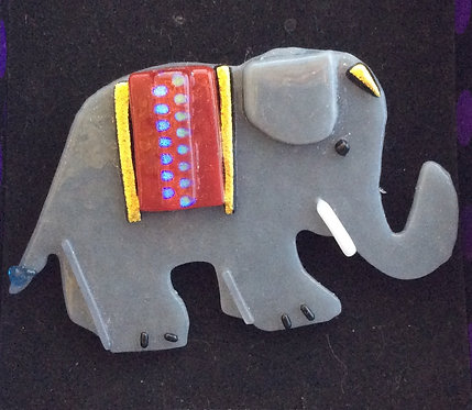 Fused Glass Elephant Brooch