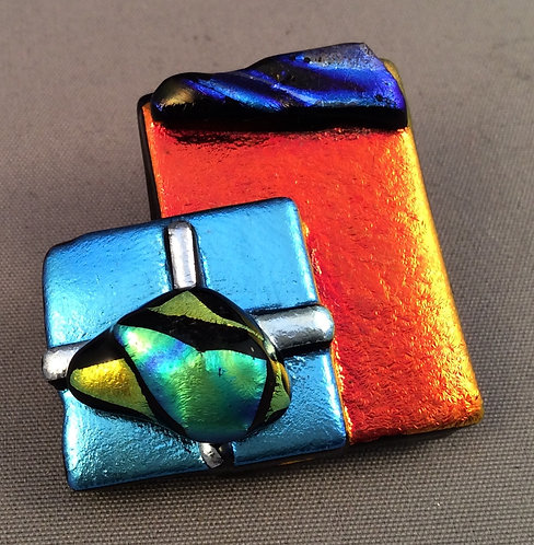 Fused Dichroic Glass Christmas Parcel Brooch