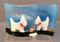 Fused Glass Dog Tealight