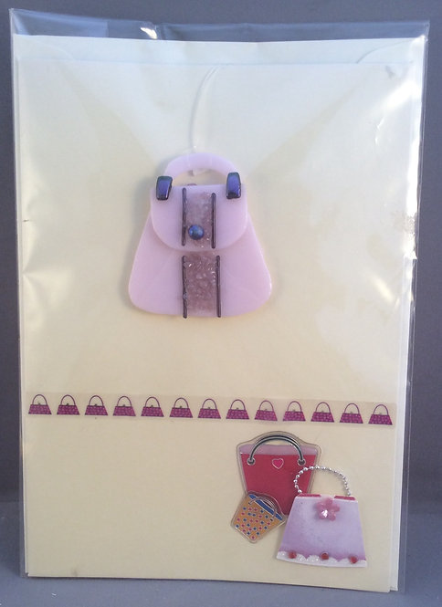 Fused Glass Hand Bag Card