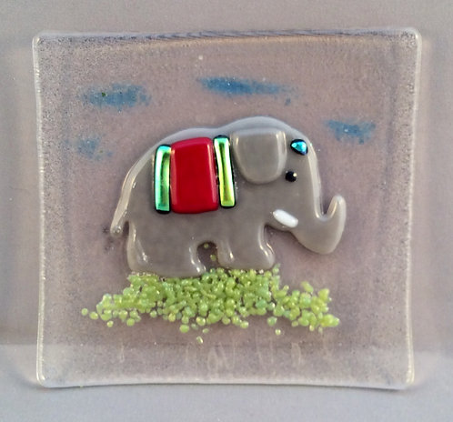 Fused Glass Small Elephant Dish