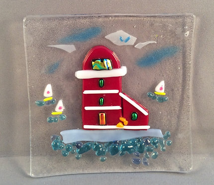 Fused Glass Red Lighthouse Dish