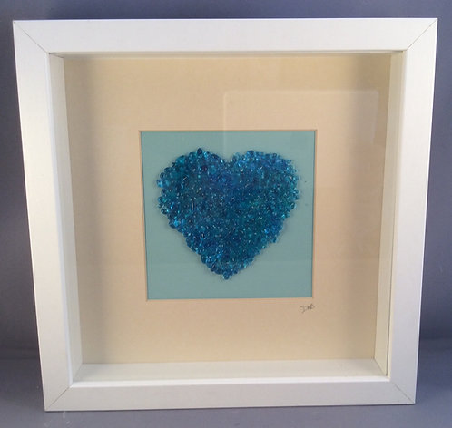 Fused Glass Blue Heart Picture