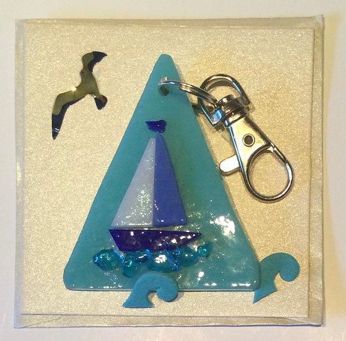 Glass Boat Keyring Card