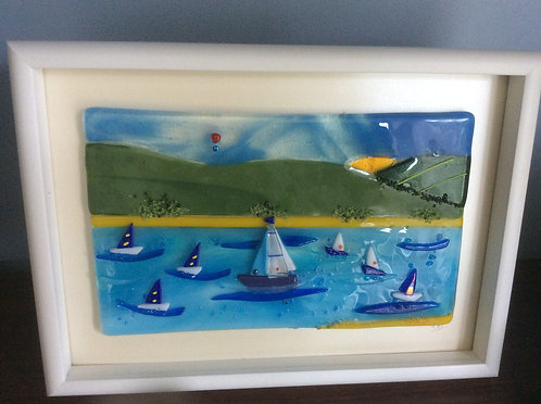 Fused Glass On the Water  Sail Boat Picture