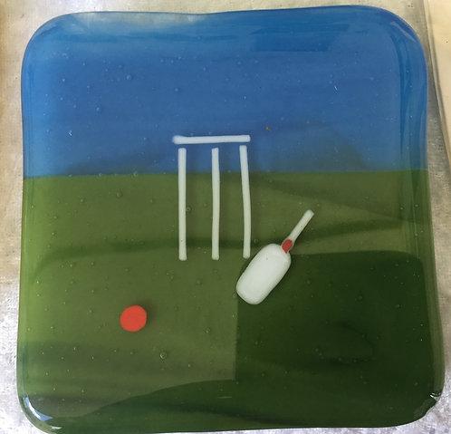 Glass Cricket  Pitch Coaster