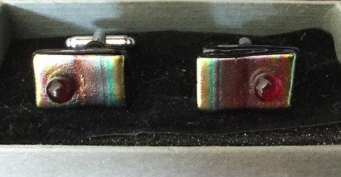 Dichroic Pink Stripe  Cufflinks