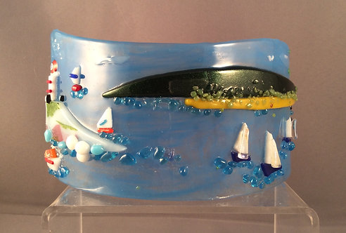 Freestanding Fused Glass Curve Beach Scene