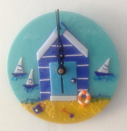 Fused Glass Beach Hut Wall Clock