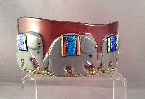 Freestanding Fused Glass Curve  Elephants on Parade