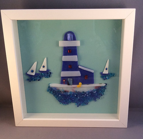 Fused Glass Lighthouse Picture