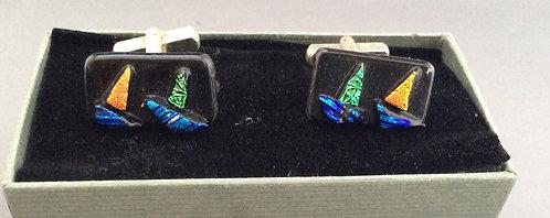 Dichroic  Glass Boat Cufflinks