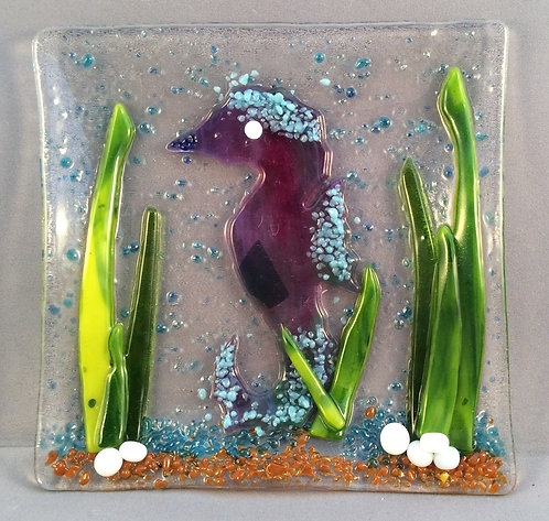 Fused Glass Seahorse Dish