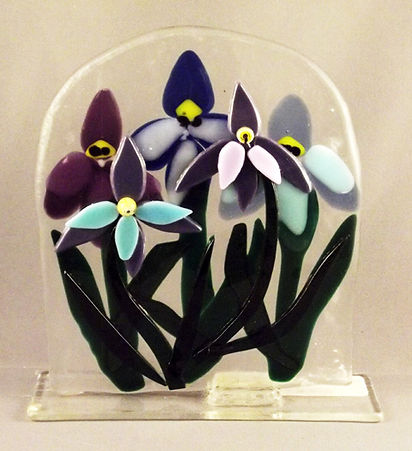 Fused glass Iris Flower