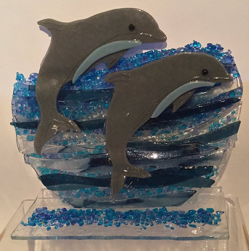 Freestanding Leaping Dolphins