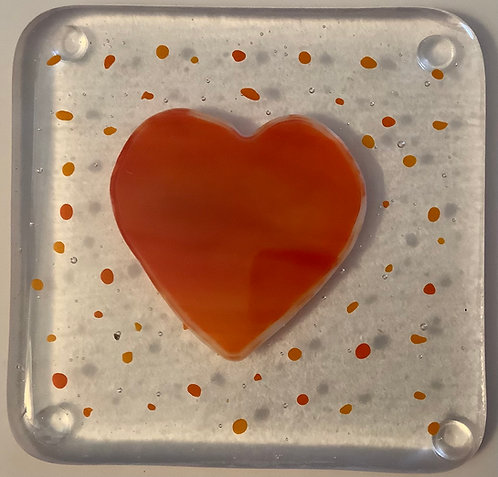 Glass Large Heart Coaster