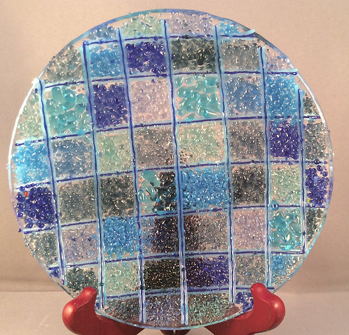 Fused Glass Small Fritt Check Dish