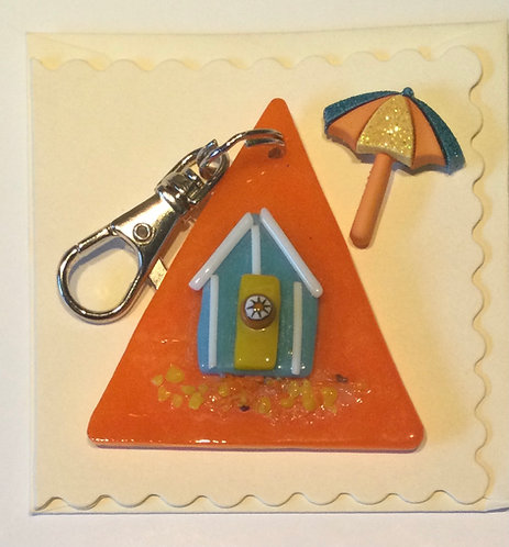Glass Beach Hut Keyring Card