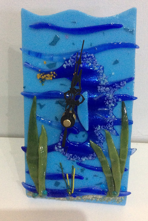 Fused Glass Underwater  Seahorse Freestanding Clock