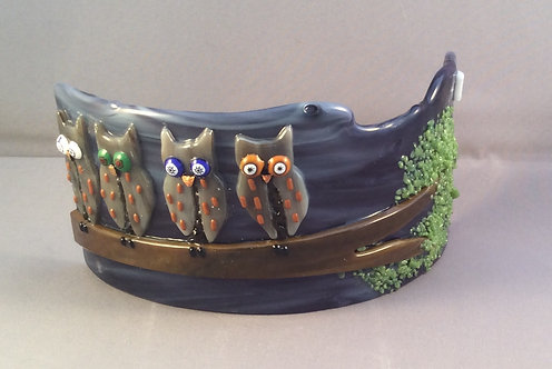 Freestanding Fused Glass Curve Owls in The Tree