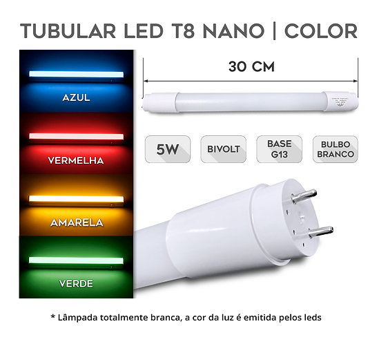 Lâmpada Led Tubular T8 COLOR 5W 30cm G13 Bivolt
