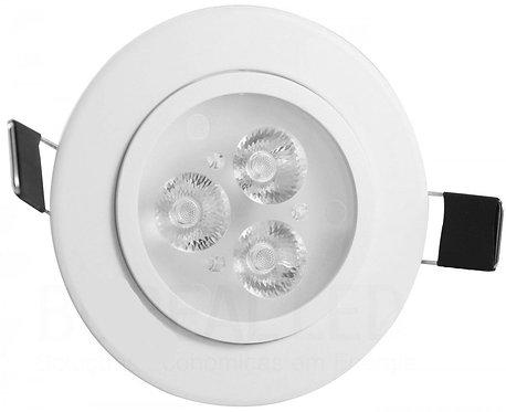 Spot LED Embutir Redondo 3W Direcionável Luz Branca Quente 3000K