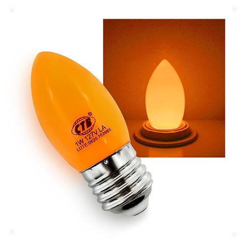 Lâmpada Decorativa Vela LED COLOR 1W 127V E27 - LARANJA