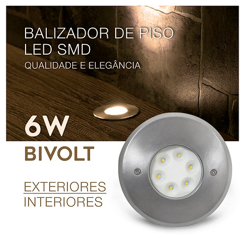 Balizador Piso LED SMD Embutir Redondo 6W Bivolt IP65 Luz Branca Quente 3000K